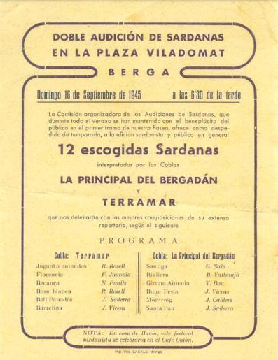 Programa de mà on hi apareixen la Cobla Principal del Bergueda i la Cobla Terramar. (1945)