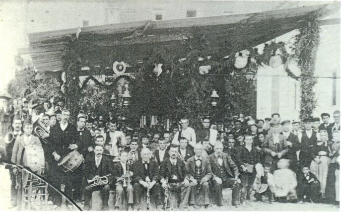 """Orquestra """"La Unión Bergadama"""", amb Jaume Sala (com a corneta) quan tenia 13 anys."""